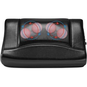 Invitalis Leder Massagekissen 8760 Vitalymed Plus, Shiatsu Massagegerät mit Infrarot Wärmefunktion für Nacken, Schulter und Rücken, Schwarz