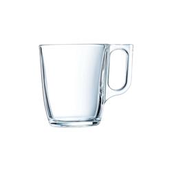 Arcoroc Becher Voluto, Bockbecher Kaffeebecher Kaffeetasse 250ml Glas transparent 6 Stück Ø 7.6 cm x 9.2 cm