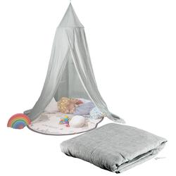 Kinder-Betthimmel mit Insektenschutz, grau, zusammenfaltbar