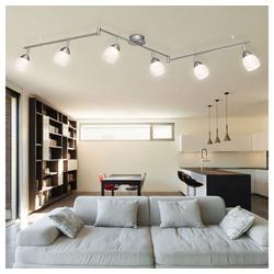Globo LED Lichtleiste, LED Spotleiste Wohnzimmerlampe Kristall Deckenleuchte Strahler Esszimmerleuchte verstellbar, Spot und Arme beweglich, 6x 5W 6x 430lm 3000K, LxH 175x 23 cm