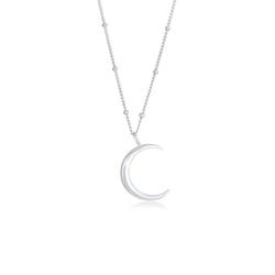Elli Kette mit Anhänger Halbmond Moon Sichel Astro 925 Silber, Halbmond silberfarben