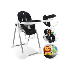 KIDIZ Hochstuhl, 3in1 Hochstuhl, Sitzerhöhung, Hocker, Kinderhochstuhl inkl. Spielbügel, Babyliege, Kombihochstuhl, verstellbare Rückenlehne und Höhe,mitwachsend ab 0 schwarz