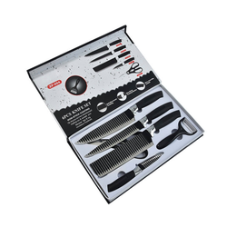 H-basics Messer-Set 6er Küchenmesser Set - in Schwarz - 6-teiliges Messer Set aus rostfreiem Edelstahl bestehend aus Schäler, Hackbeil, Filetiermesser, Tranchiermesser und Allzweckmesser