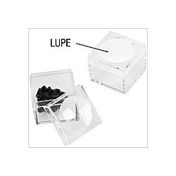 Sammelbox aus Kunststoff mit Lupe im Deckel  2er Set