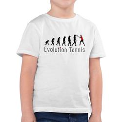 Shirtracer T-Shirt Tennis Evolution - Evolution Kind - Jungen Kinder T-Shirt weiß 104 (3/4 Jahre)