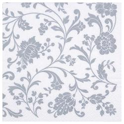 Linoows Papierserviette 20 Servietten Arabesken, Blütenranken Silber auf, Motiv Arabesken, Blütenranken Silber auf Weiß