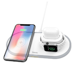 HOCO HOCO 3in1 Qi Wireless Charger Pad 10W Ladestation Ladegerät Weiß für Apple Watch, Airpords, iPhone 11 PRO MAX, XR XS MAX X 8 PLUS Wireless Charger