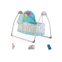 Moni Babywippe Babywiege Accent, elektrisch, Remote, Musik, Timer, Spielbogen, Insektenschutz blau
