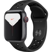 Apple Watch Series 5 Nike GPS + Cellular 40 mm Aluminiumgehäuse space grau, Nike Sportarmband anthrazit/schwarz