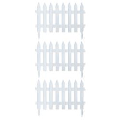 BigDean Gartenzaun Classic Weiß 9,6m x 0,35m Beetbegrenzung Beeteinfassung Zaun