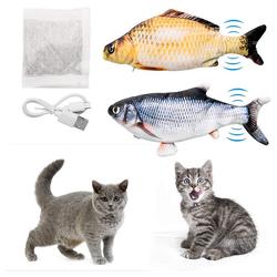kueatily Beißring Katzenspielzeug Fisch 2 Stück Elektrisches interaktives Katzenspielzeug mit Katzenminze - Fischspielzeug zum Spielen, Beißen, Kauen mit USB-Aufladung