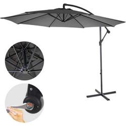 Ampelschirm Terni, Sonnenschirm Sonnenschutz, Ø 3m neigbar, Polyester/Stahl 11kg ~ grau ohne Ständer