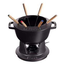STAUB France Fondue-Set Schwarz aus Gusseisen mit 6 Fonduegabeln