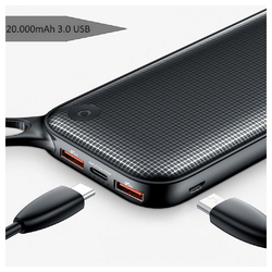 Baseus Baseus Powerful Powerbank 20000 mAh 18W Quick Charge 3 USB Ports 3.0 QC 3.0 Ports Batterie Display Anzeige Micro-USB USB-Typ-C Schwarz Powerbank