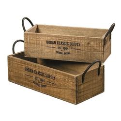 Meinposten Dekokiste braun Dekokiste shabby Kiste Obstkiste Holz Deko Landhaus mit Griffen 46 cm x 17.7 cm x 18 cm
