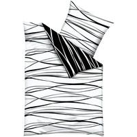 Feinbiber schwarz/weiß 135 x 200 cm + 80 x 80 cm