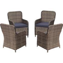 4x Polyrattan Sessel Stuhl Gartenstuhl Rattan Optik Korbsessel Gartensessel