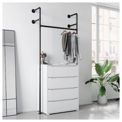 Vicco Garderobe Loft Kleiderschrank RUBEN Kleiderstange offen begehbar Kommode 90 cm