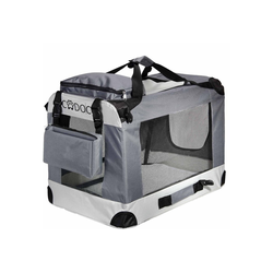 Deuba Tiertransportbox, Hundetransportbox faltbar Katzentransportbox Tier Transport Tierbox Größe XL grau 59 cm x 59 cm x 82 cm