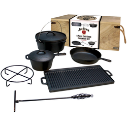 Jim Beam BBQ Topf-Set, Gusseisen, (9-tlg)