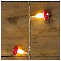 MARELIDA LED-Lichterkette LED Lichterkette Fliegenpilz - 10 warmweiße LED - Kunststoff - L: 0,9m - Batteriebetrieb - rot/weiß, 10-flammig