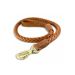 Monkimau Hundeleine Hundeleine aus geflochtenem Leder für große Hunde, Leder