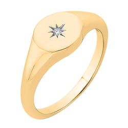 Goldener Siegelring mit Diamantstern Keylo
