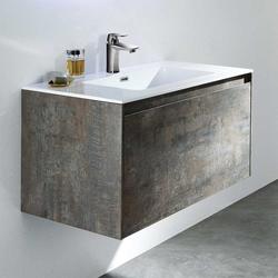 Waschbeckenunterschrank in Grau Eiche Nachbildung Einlass-Waschbecken
