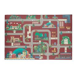 relaxdays Spielteppich Straße rot/bunt 120,0 x 80,0 cm