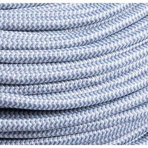 Textilkabel Stoffkabel Lampenkabel stoffummanteltes Kabel (4 Adern a 0,75mm2, weiss silber gezackt)