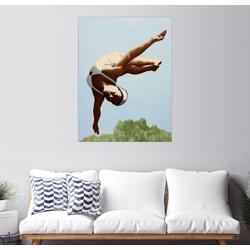 Posterlounge Wandbild, Kunstspringerin über den Baumwipfeln 70 cm x 90 cm