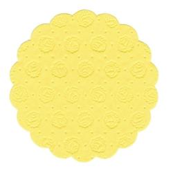 Papstar Tassen-Untersetzer rund, Tissue, 9-lagig, Ø 9 cm, 1 Packung = 20 Untersetzer, gelb
