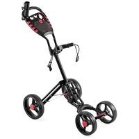 COSTWAY Golftrolley Golfwagen Schiebewagen Golf Push Cart, mit verstellbarem Griff, Schirmhalterung, Getränkehalterung, Anzeigetafel, 4-Rad