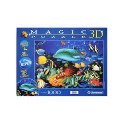 Clementoni® 3D-Puzzle Clementoni 97791 - Magic 3D-Puzzle - Delfin Riff, 1000 Teile, Puzzleteile