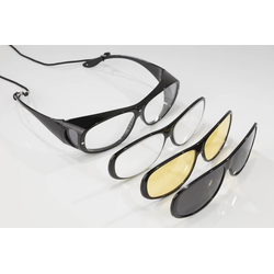 Überbrille mit drei Wechselrahmen, 100% UV-400 Schutz, polarisiert, vergrößert 200%-Gratis 4 teiliges Brillen-Pflege-Set