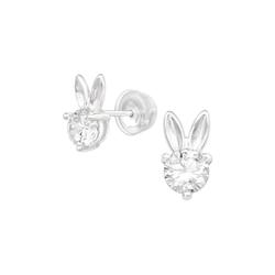 BUNGSA Ohrstecker-Set Ohrstecker Bunny mit rundem Kristall aus .925