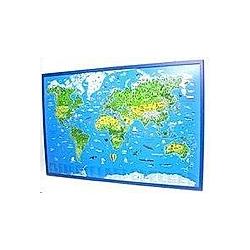 Illustrierte Weltkarte  auf Kork-Pinnwand - Buch