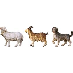 ULPE WOODART Krippenfigur Schaf, Ziege, Hund (Set, 3 Stück), Handarbeit, hochwertige Holzschnitzkunst