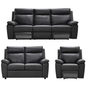 Livetastic Sitzgarnitur Kombination Echtleder/Lederlook Lederlook Schwarz , Silke , Textil, Leder , Uni , 199x103x99 cm , Lederlook,pigmentiert , Relaxfunktion , 000665000401