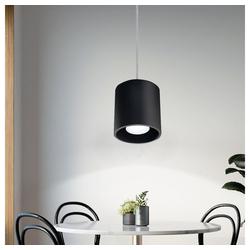 etc-shop Pendelleuchte, Pendelleuchte Zylinder Esszimmer Wohnzimmerlampe hängend Pendelleuchte schwarz, Aluminium, 1x GU10, DxH 10x80 cm