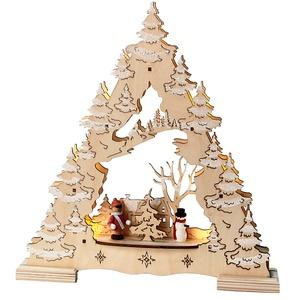 "Best Season LED-Fensterleuchter ""Tree with Glitter"", 7 warm weiß LED, Material: Holz , Batterie circa 28 x 26 cm, natur 270-24"