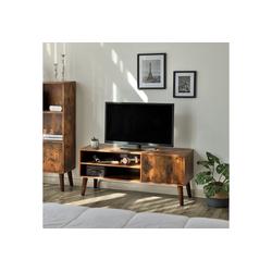 VASAGLE Lowboard LTV09WT LTV09BX, TV-Lowboards, TV-Regal für Fernseher bis zu 43 Zoll, vintage