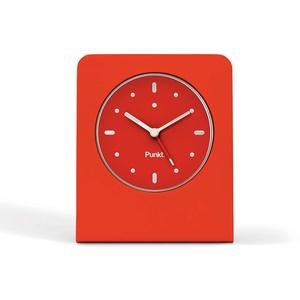 Punkt. AC01, Design-Wecker Analog Klein, Lautlos Reisewecker, ohne Ticken mit LED-Licht, Batteriebetrieben, Alarm Clock mit Schlummerfunktion (Aluminiumblock und Glasfront) – Rot