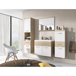 Feldmann-Wohnen Badmöbel-Set ALBA, (Set, 5-tlg., Farbe wählbar), 2 Hängeschränke + 1 Spiegel + 1 Waschbeckenunterschrank + 1 Waschbecken natur