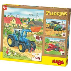 Haba Puzzle 3er Puzzle-Set - Traktor und Co. - 24 Teile, Puzzleteile