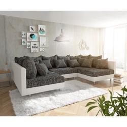 DELIFE Wohnlandschaft Clovis, Weiss Schwarz Wohnlandschaft Modulares Sofa weiß 300 cm x 67 cm x 185 cm