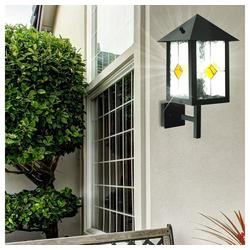 etc-shop LED Wandleuchte, 5 Watt LED Außen Wand Leuchte schwarz Lampe IP44 Tiffany Technik Dekor Glas