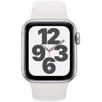 Apple Watch SE GPS + Cellular 40 mm Aluminiumgehäuse silber, Sportarmband weiß