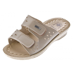 Scandi Clogs Pantoletten Latschen Gesundheits Schuhe Zehentrenner Gel-Effekt braun 38 EU