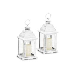 Gartenfreude Gartenleuchte Metall Laterne 2er-Set mit LED Kerze weiß